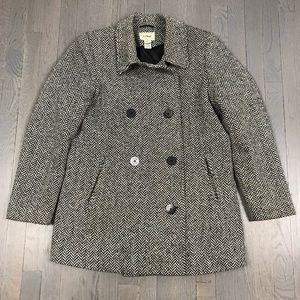 L.L.Bean Black White Houndstooth Pea Coat Jacket